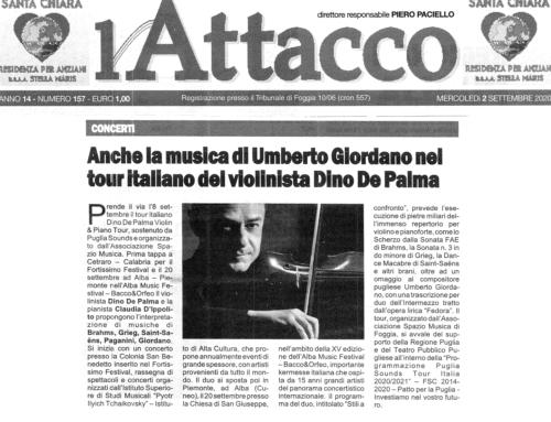 Dino De Palma Violin & Piano Tour Quotidiano L'Attacco, 2 settembre 2020